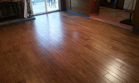 Water Based Floor Stain - before and after floor transformation general finishes