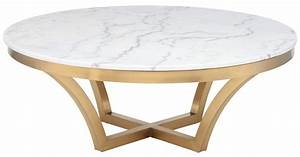 nuevo aurora coffee table in brushed gold base and white With brushed gold coffee table