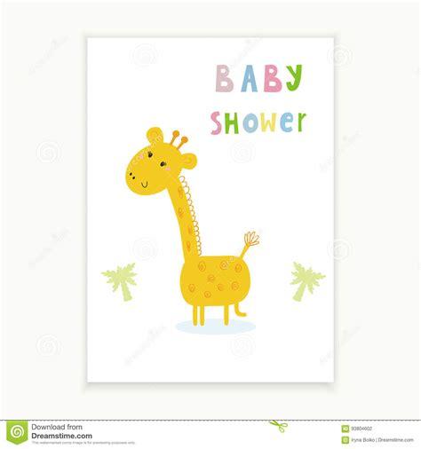 baby shower card design cute hand drawn card  giraffe