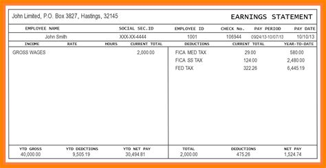 exle pay stub for students 5 free paystub template excel pay stub format