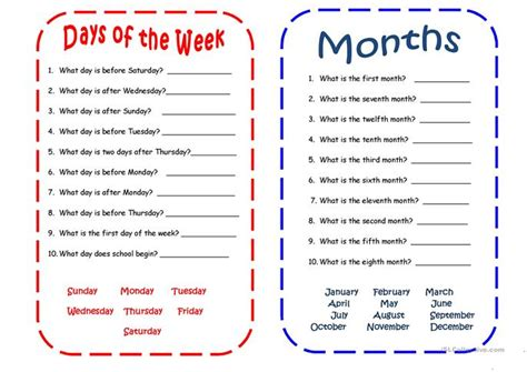 days  months worksheet  esl printable worksheets