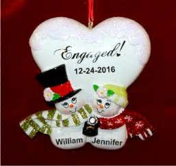 blissful engagement christmas ornament