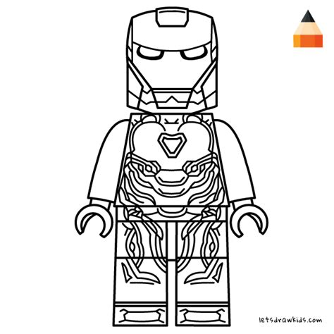 coloring page  kids   draw lego iron man