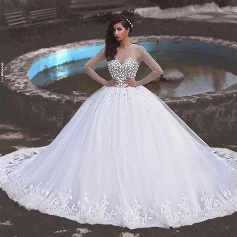 White Luxury Ball Gown Muslim Wedding Dresses Full Long