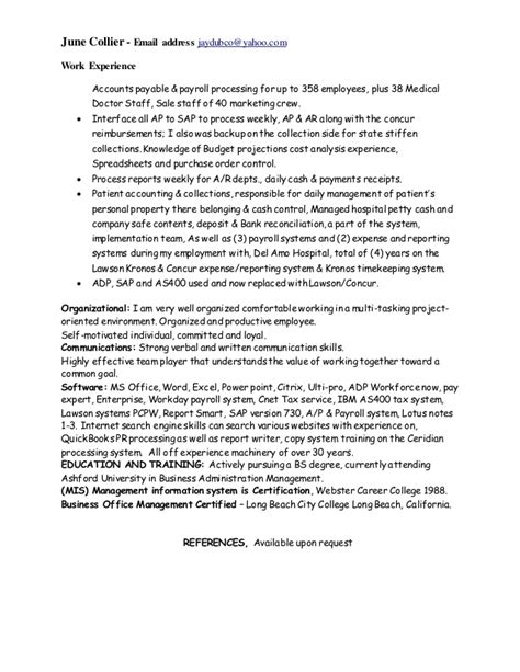 Kronos Implementation Resume by June Collier Resume 01 06 2017