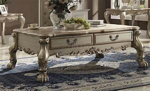 dresden 82090 coffee table in gold tone patina by acme w With gold tone coffee table