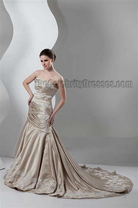 trumpetmermaid strapless champagne formal wedding dresses