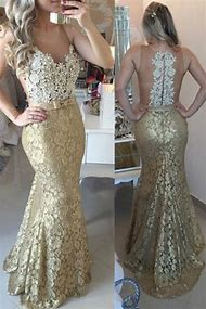 Gold Lace Mermaid Prom Dress