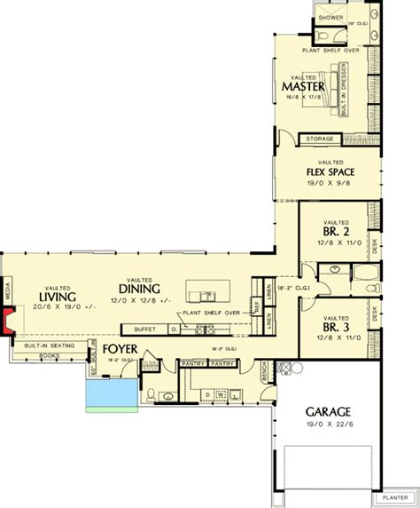 plan  long  california ranch  shaped house plans house plans  story floor