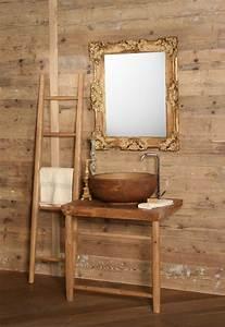 Meuble Sous Vasque Bois Massif : meuble vasque salle de bain en bois patin et blanc mat ~ Teatrodelosmanantiales.com Idées de Décoration