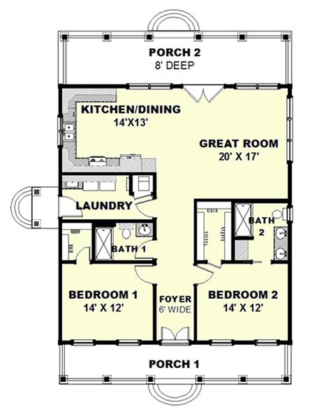 Cottage Style House Plan 2 Beds 2 Baths 1292 Sq/Ft Plan