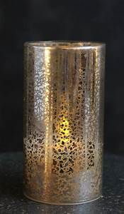Antiqued Silver Glass Hurricane Led Pillar Candle