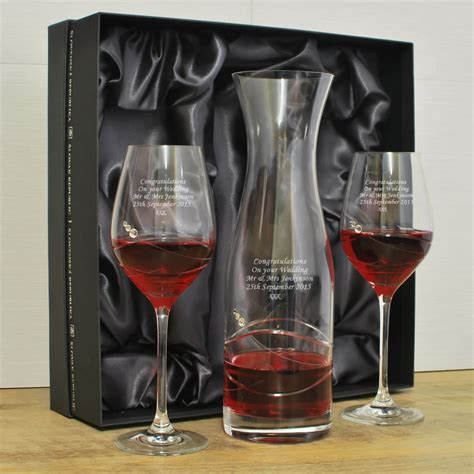 glass carafe personalised wine glass decanter set with swarovski elements