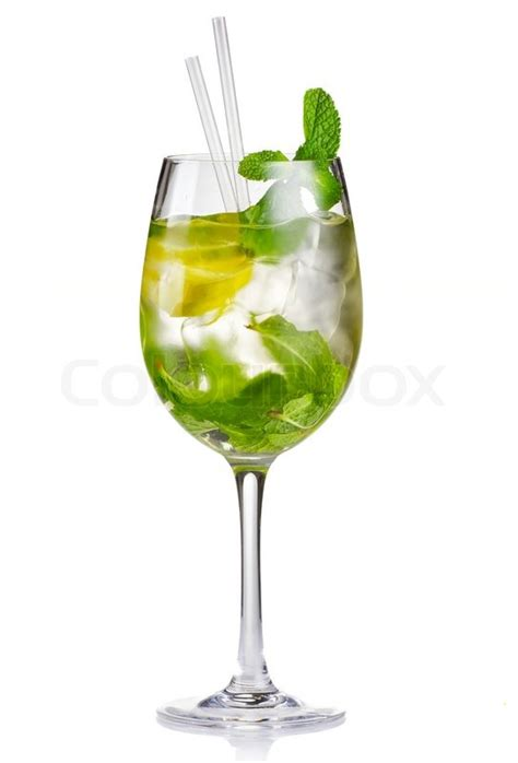 alcohol cocktail hugo  lime  stock photo
