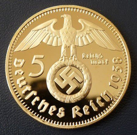 ww gold plated  swastika  reichsmark commemorative