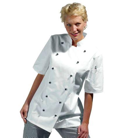 chef de cuisine femme veste de cuisine femme manches courtes cintrée coton sergé