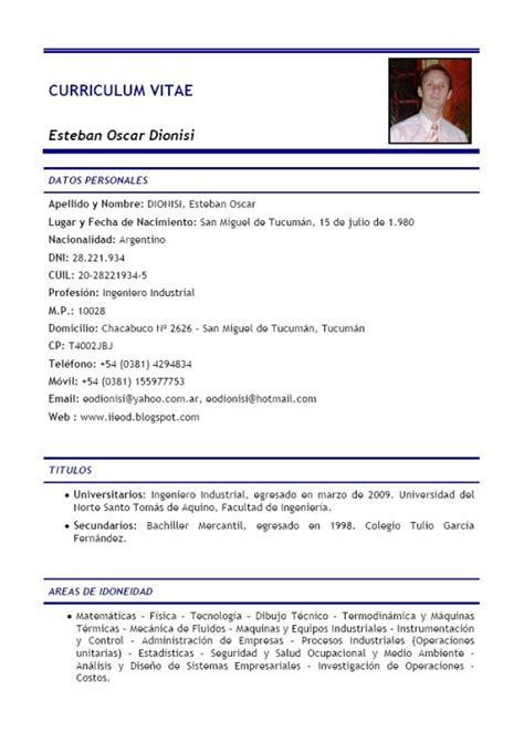 Un Resume In by Como Hacer Un Curr 237 Culum De Ingeniero Industrial Ejemplos De