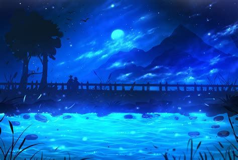 ryky digital art drawing painting landscape blue