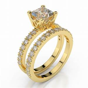 princess cut diamond engagement ring set 14k yellow gold With yellow gold engagement wedding ring sets