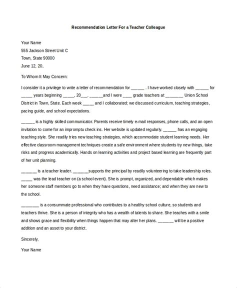 sample teacher recommendation letters