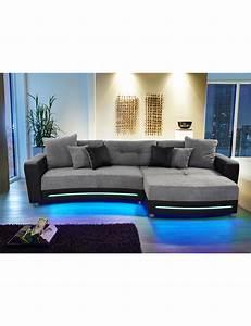 Sofa Mit Led Und Sound : canap d 39 angle party avec syst me hi fi noir gris ~ Indierocktalk.com Haus und Dekorationen
