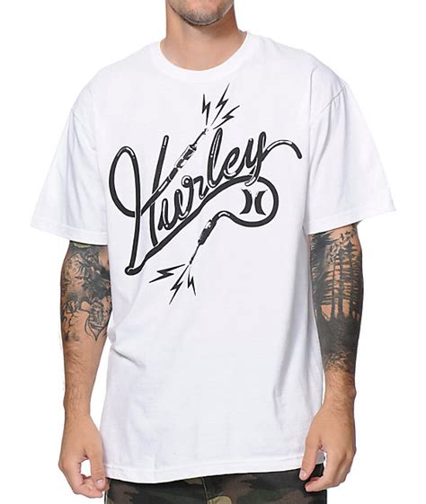 hurley cable white t shirt
