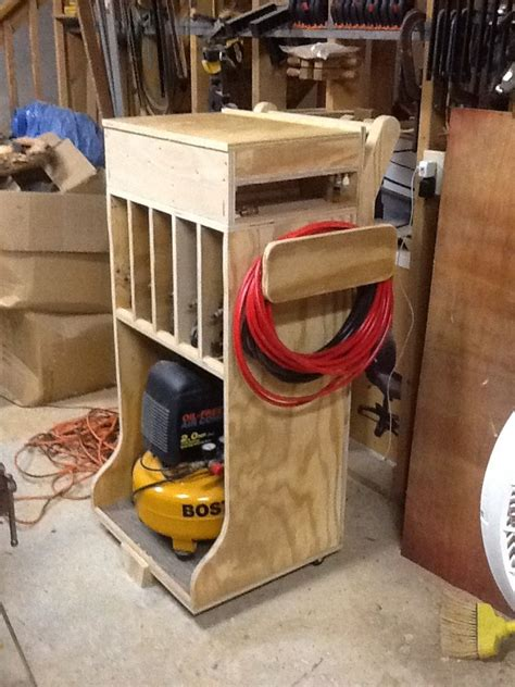 woodshop organization woodshop air compressor cart