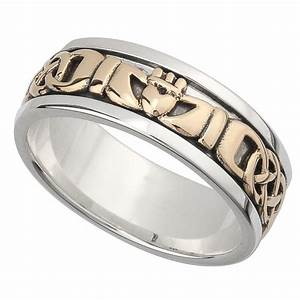 irish wedding band 10k gold and sterling silver mens With celtic claddagh wedding rings