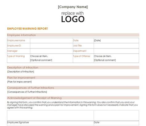 employee written warning template free employee warning letter template