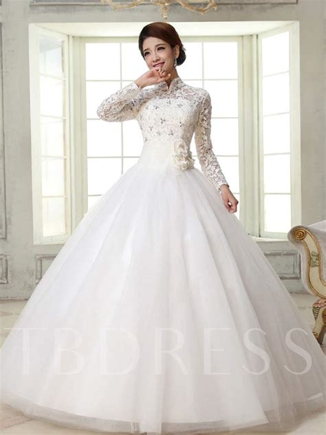 Ball Gown High Neck Long Sleeves Lace Wedding Dress