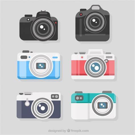 variety  flat designed professional cameras vector