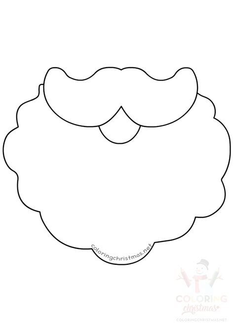santa claus beard template printable coloring christmas