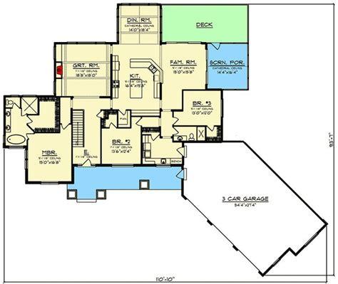 plan ah  bed modern farmhouse ranch  angled  car garage modern bed open concept