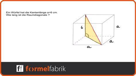 pythagoras raumdiagonale beim wuerfel youtube