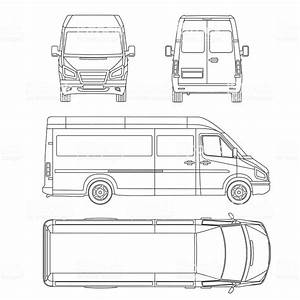 Van Template Commercial Vehicle Blueprint Drawing