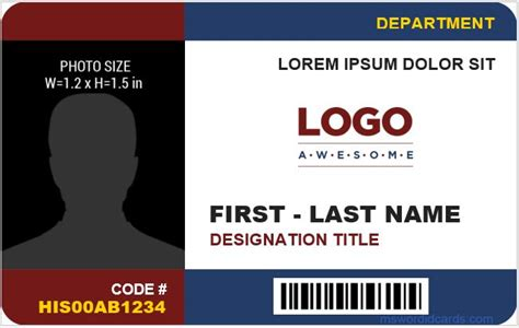company id card templates ms word microsoft word