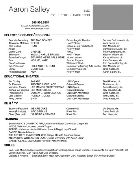 theatre resumes acting resume template free audition theater list