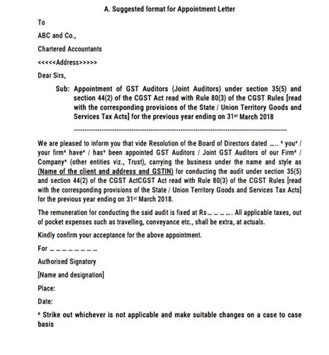 gst auditor appointment letter format
