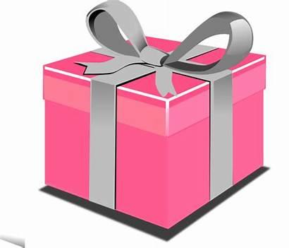Present Pink Clip Box Clipart Gift Cartoon