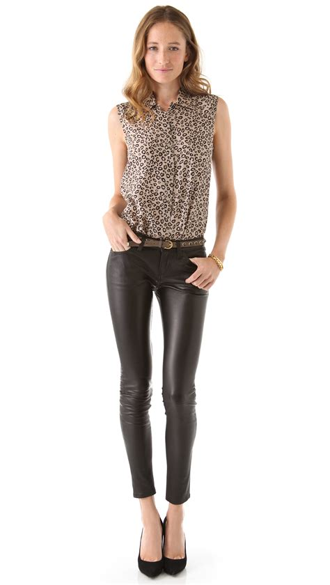 Current/Elliott The Skinny Leather Pants in Black - Lyst