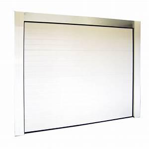 Porte de garage sectionnelle blanche motorisee l240 x h for Porte de garage keritek
