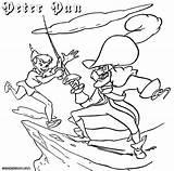 Pan Peter Coloring Pirate Peterpan Colorings Fight sketch template