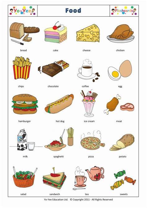 food  drinks flashcards vocabulary cards  kids