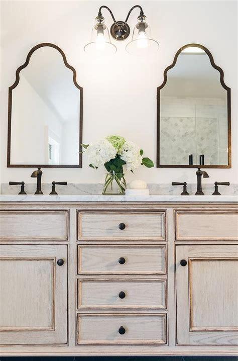 Oak Washstand with Black Slate Floor Tiles   Transitional