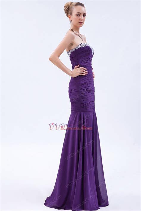affordable sweetheart crystals mermaid purple chiffon prom dress