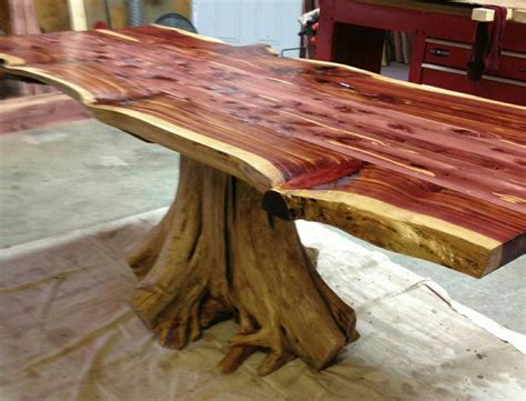 edge cedar stump dining table  images