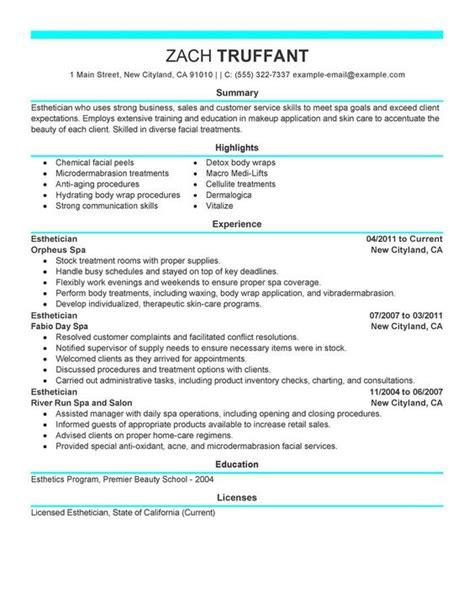 esthetician resume cover letter sle http www
