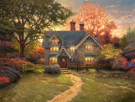 kinkade cottage painting gingerbread cottage limited edition kinkade