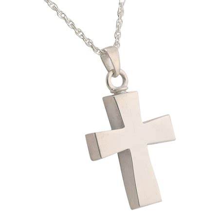 curved cross pendant  necklace  ashes  silver