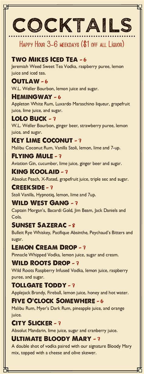 cocktail menu checkout our new signature drinks tollgate inn oregon